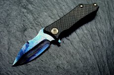 Нож Marfione and Guardian Tactical Exilis, Blue Damascus, Carbon